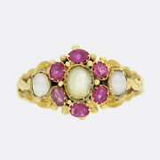 Victorian Burmese Ruby And Pearl Cluster Ring 18ct Yellow Gold