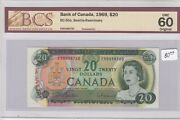 1969 Bank Of Canada 20 Dollars Note - Er0498760 - Bcs Graded Unc 60