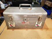 Vintage Sears Craftsman Silver/gray 18 Metal Toolbox With Metal Red Tray - Used
