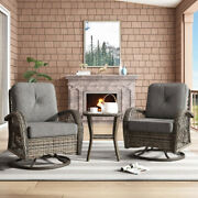 Outdoor Patio Chat Set 3-piece Wicker Swivel Chair Side Table Dark Gray Cushion