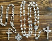 Rosary Sterling Silver Catholic Medals Crucifix Antique Art Deco Religious Charm
