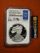 1996 P Proof Silver Eagle Ngc Pf70 Ultra Cameo Edmund Moy Hand Signed Blue Label
