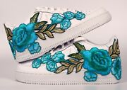 💎 Nike Air Force 1 07 Low Teal Blue Rose Flower Floral Custom Shoes All Size 💎