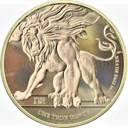 2018 Niue 2 Roaring Lion Ennobled Gold Gilded 1oz .999 Silver Coin - Box And Coa