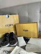 New Fendi Roma Menand039s Zucca Ff Tech Fabric Lace-up Low Top Sneakers Shoes 41