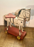 Rare 1936 Vintage Fisher Price With Tail Ride On Hobby Horse On Wheels Pull Toy