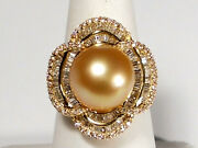 12-13mm Golden South Sea Pearl Ring, Diamonds, Solid 18k Yellow Gold.