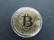Gold Bitcoin Coins Commemorative With Holder-free Shipping- A1