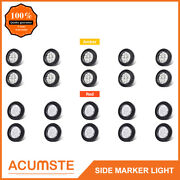 20pc 2 Round Amber+red Side Marker Lights 9led Reflector Clear Lens W/grommet