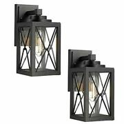 Emliviar Porch Lights 2 Pack Black Outdoor Wall Lanterns Sconces With Clear Gla