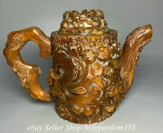 8.8 Marked Chinese Ox Horn Carving Tree Flower Drinking Vessel Handle Kettle