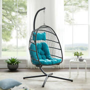 Outdoor Egg Swing Hanging Basket Chair Teal Cushion Stand Included