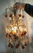 Vintage Small Petite 18 Crystal Beaded Chandelier Amber Drops