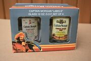 Captain Morgan Low Ball Labels Glasses 12 Oz. Preowned In Box