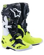 Alpinestars Tech 10 Ams Limited Motocross Offroad Race Boots Grey Flo Yell Adult