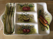 Lachman And Co. Hand Painted In Italy By Mancioli Ceramic Divided Vegetable Tray