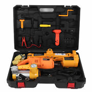 12v Electric Car Jack Tire Lifting Set Tools 17-42cm 3ton With Air Pump Wrench