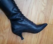 Black Vintage Victorian Leather Peter Fox Lace Up Granny Boots Size 7b