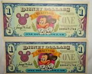 2 - 1993 1 Disney Dollar Uncirculated Mickey Mouse 65th Anniv Series A -mint