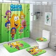 Bub-ble Gu-ppies Shower Curtain Sets With Non-slip Rugs,toilet Bubble Guppies 1