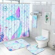 7 Piece Mermaid Shower Curtain Set With Rugs And Towels Include Non-slip
