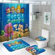 Bub-ble Gu-ppies Shower Curtain Sets With Non-slip Rugs,toilet Bubble Guppies 2