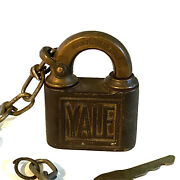 Antique Yale And Towne Padlock Cast Iron Brass Embossed Lock Key Pin Tumbler Chain