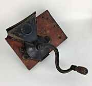 Antique Coffee Grinder Mill Wall Mount Wood Handle Primitive Decor Kitchen Gift