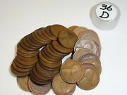 One Roll 1936-d Lincoln Wheat Penny Old Vintage Antique American Copper Coin