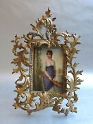 German Porcelain Hand Painted Plaque In Gilt Metal Frame Circa 1890.