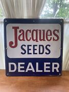 Agriculture Farm Advertising Heavy Metal Feed Sign Jacques Seeds Dealer Red Blue