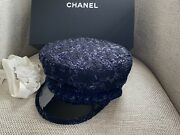 Nib 100auth 2018a Black/blue Tweed Blue Trim Sailor Hat Small Sold Out