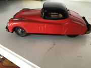 Nice 1950's Tin Friction Powered Red Jaguar Xk120 Coupe 6 Excellent