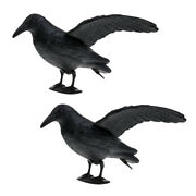 2 Pieces Realistic Full Body Crow Raven Hunting Decoy Scarer Greenhand Gear
