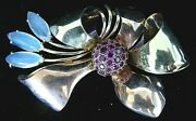 Vintage Lge Retro 14k Yellow Rose Gold 2ct Ruby 3ct Moonstone Bow Tie 3 Pin 32g