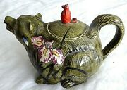 Antique Japanese Banko Glazed Clay Pottery Hand Painted Bear Large Teapot, 7