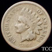1866 Indian Head Cent 1c Beautiful Rare Date Penny Free Shipping Tcc