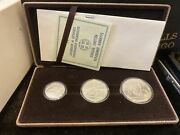 Pan European Olympic Style Games Of Greece Silver 3 Coins Collection Set