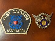 Vintage Us Coast Guard Auxiliary Badge/pin And Past Captain Patchandnbsp