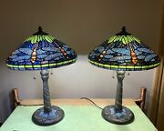 Pair Of Dragonfly Style Stained Glass Lamps