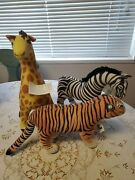 3 Safari Collection Stuffed Animals By The Toy Works Tiger Zebra Giraffe Nwt
