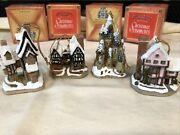 David Winter Cottages 1992 Christmas Ornaments Set Of 4 - Mint In Original Boxes