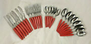 Branchell Germany Mid Century Stainless Flatwear, 26 Pieces In Orange Melamine