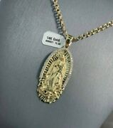 14k Yellow Gold Virgin Mary Lady Guadalupe Charm Pendant 10k Chino Link Chain