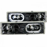 Anzo For Gmc C1500/c2500 1988-1998 Crystal Headlights Carbon W/ Halo