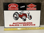 Ford Tractor Dearborn Farm Equipment Metal Sign Sales Service Engine Gas Oil