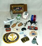 Vintage Junk Draw Lot, Advertising Sports, Toys, Military, Scout, Bottle Stopper