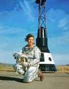 Betty Skelton In Astronaut Suit And Helmet Large 11 Photo With Mercury Capsule