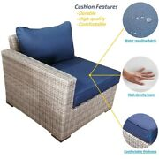 5-piece Wicker Rattan Outdoor Sectional Set With Blue Cushions And Coffee Table