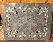Vintage Mid-century Kitchen Table Grey W/ Flowers Silver Trim Formica 47.5andrdquox 37andrdquo